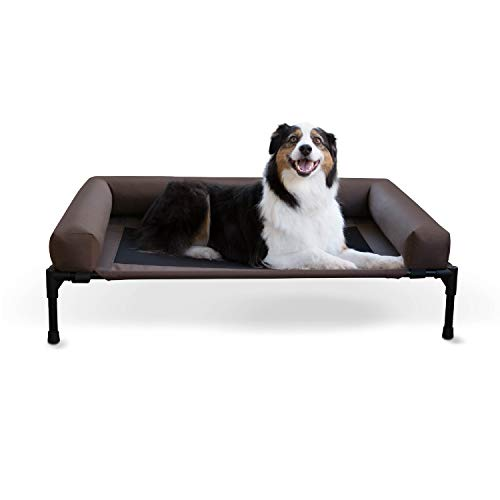 K&H Pet Products Original Bolster Pet Cot Outdoor Elevated Dog Bed with Removable Bolsters - Chocolate/Black Mesh, Large 30 X 42 X 7 Inches