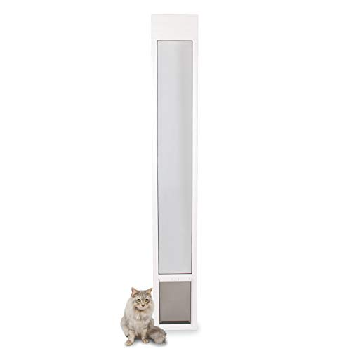PetSafe Freedom Aluminum Patio Panel Sliding Glass Dog and Cat Door, Adjustable 76 13/16 in to 80 11/16 in - Small White Pet Door
