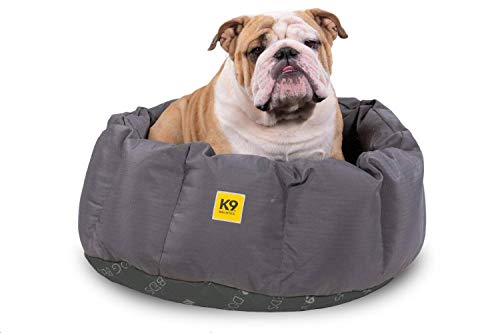K9 Ballistics Round Dog Bed Deep Den, Bagel, Donut, and Deep Dish Style for Cuddler, Machine Washable (Pewter Grey Black Bottom Medium 30' x 24' x...