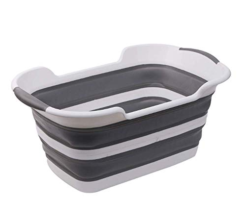 HYFZY Dog Bath Tub- Collapsible Portable Dog Bath System for Small Medium Pets,Gray