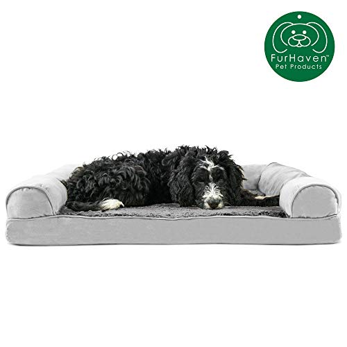 Furhaven Pet Dog Bed | Orthopedic Ultra Plush Faux Fur & Suede Traditional Sofa-Style Living Room Couch Pet Bed w/ Removable Cover for Dogs & Cats,...