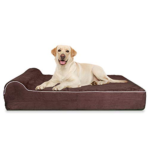 7-inch Thick High Grade Orthopedic Memory Foam Dog Bed With Pillow and Easy to Wash Removable Cover with Anti-Slip Bottom. Free Waterproof Liner...