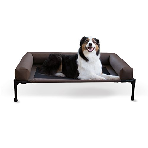 K&H Pet Products Original Bolster Pet Cot Elevated Pet Bed with Removable Bolsters Chocolate/Mesh Large 30 X 42 Inches