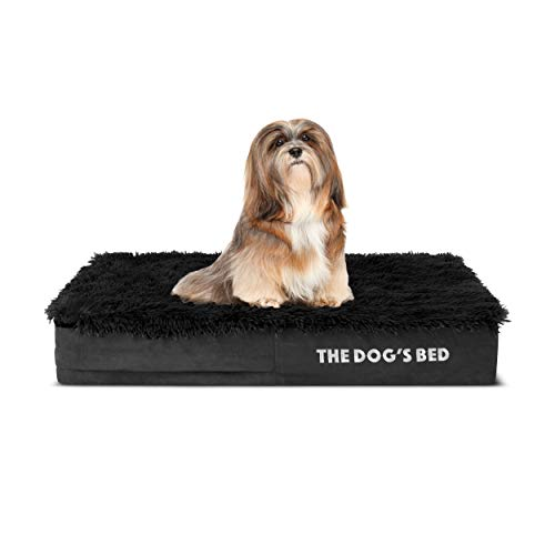 The Dog's Bed Orthopedic Headrest Dog Bed XL Grey Plush 46x28, Premium Memory Foam, Pain Relief for Arthritis, Hip & Elbow Dysplasia, Post Surgery,...