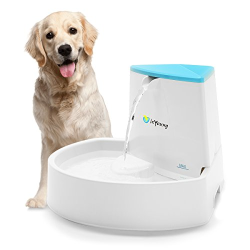 isYoung Pet Fountain, 84oz/2.5L Dog Fountain Automatic Water Dispenser for Dogs & Cats