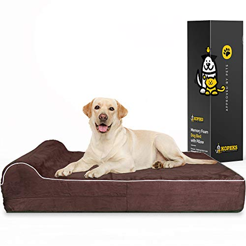 7' Thick High Grade Orthopedic Memory Foam Dog Bed with Pillow & Easy To Wash Removable Cover with Anti-Slip Bottom. Free Waterproof Liner Included -...