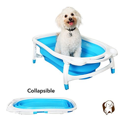 BaileyBear Porta Tubby Collapsible Portable Foldable Dog Cat Bath Tub, Expandable Grooming Washing Accessory for Small Medium Pets, 31.5'x17.3'x8.7'