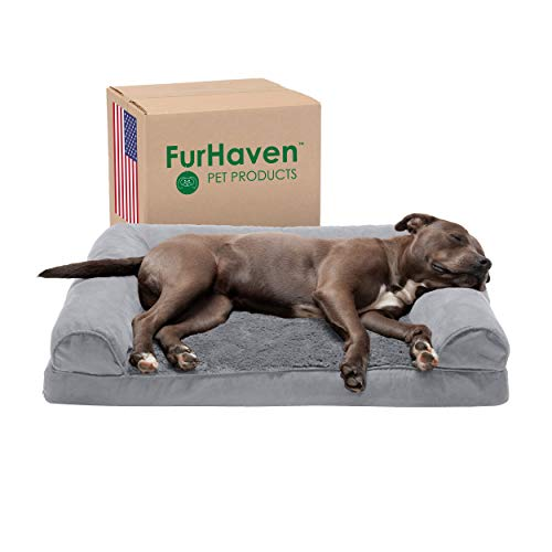 Furhaven Pet Dog Bed - Orthopedic Ultra Plush Faux Fur and Suede Traditional Sofa-Style Living Room Couch Pet Bed with Removable Cover for Dogs and...