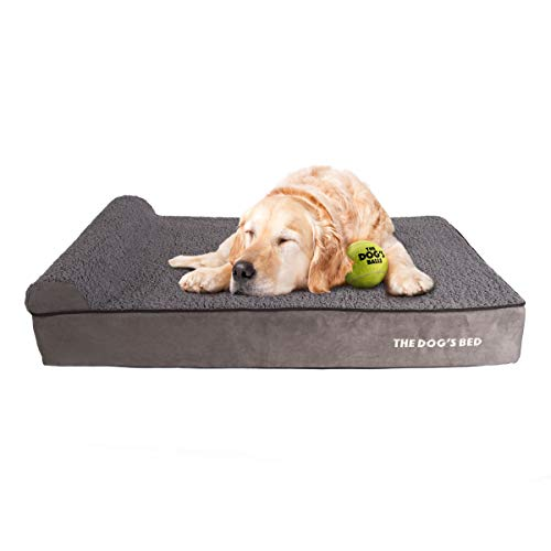 The Dog's Bed Orthopedic Dog Bed XL Grey Plush 46x28, Premium Memory Foam, Pain Relief for Arthritis, Hip & Elbow Dysplasia, Post Surgery, Lameness,...