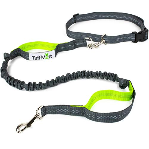 Tuff Mutt Hands Free Dog Leash for Running, Walking, Hiking, Durable Dual-Handle Bungee Leash is 4 Feet Long with Reflective Stitching, and an...