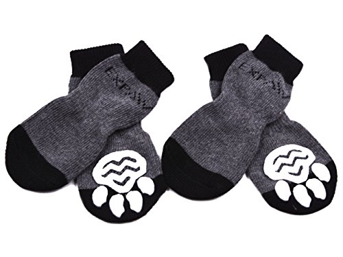 EXPAWLORER Dog Socks Traction Control Anti-Slip for Hardwood Floor Indoor Wear, Paw Protection Grey